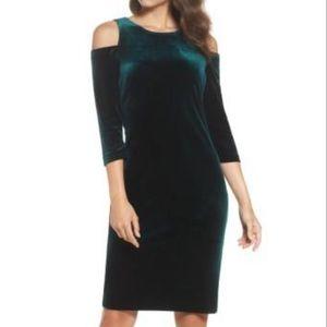 Eliza J. Green Velvet Cold Shoulder Sheath Dress